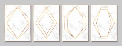 Luxury posters set with white marble texture and gold polygonal frames. Luxury white marble posters set with gold polygonal frames. Vintage templates in art vector illustration