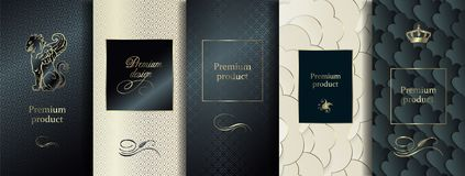 Luxury Premium design. Vector set packaging templates with different texture for luxury products. vector illustration