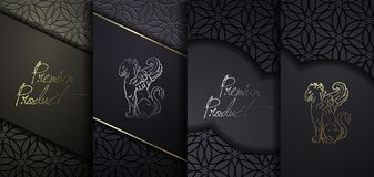 Luxury Premium design. Vector set packaging templates with different texture for luxury products. Black paper cut background. stock illustration