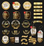 Luxury premium golden badges and labels. Collection vector illustration