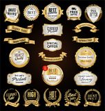 Luxury premium golden badges and labels. Collection stock illustration