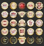 Luxury premium golden badges and labels. Set vector illustration