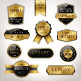 Luxury premium quality golden labels collection Stock Photography