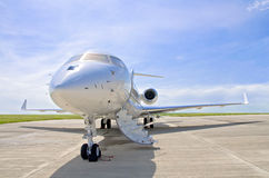 Luxury Private Jet Airplane - Side view - Bombardier Global. Luxury Private Jet Airplane for business flights - Side view - Bombardier Global Express royalty free stock photo
