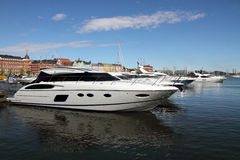 Luxury private speed boats in Helsinki harbor Royalty Free Stock Photo