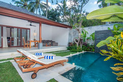 Luxury and Private villa with pool outdoor Royalty Free Stock Photo