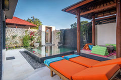 Luxury and Private villa with pool outdoor royalty free stock images