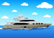 Luxury private yacht. A luxury private yacht under way out at sea Stock Photography