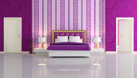 Luxury purple bedroom. With two white door - rendering Royalty Free Stock Photography