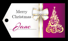 Luxury purple Christmas name tag with golden ornam Royalty Free Stock Images