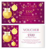 Luxury purple Christmas voucher with golden Christ Royalty Free Stock Photo