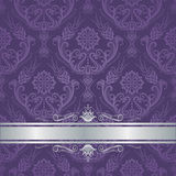 Luxury purple floral damask cover silver border Stock Image