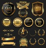 Luxury quality golden badge retro collection Royalty Free Stock Photos