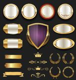 Luxury quality golden badge retro collection Royalty Free Stock Photo