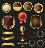 Luxury quality golden badge retro collection Royalty Free Stock Photography