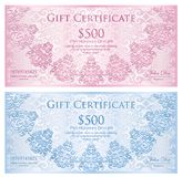 Luxury quartz pink and baby blue gift certificate. Exclusive quartz pink and baby blue gift certificate with rounded lace decoration and vintage background Stock Photos