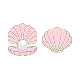 Luxury rainbow pearl in a clamshell illustration isolated. On a white background Stock Illustration