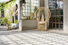 Luxury rattan chair outdoor house Royalty Free Stock Photos