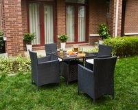 Luxury rattan garden furniture. outdoor. royalty free stock photography