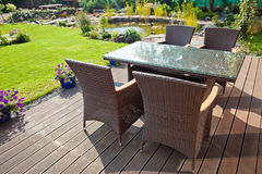 Luxury rattan Garden furniture Royalty Free Stock Photography