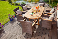 Luxury rattan Garden furniture. Luxury Garden rattan furniture at the patio Stock Photo