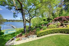 Luxury real estate lake view from home balcony. Stock Image