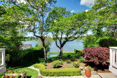 Luxury real estate lake view from home balcony. Royalty Free Stock Images