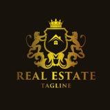 Luxury `Real Estate` Logo. Luxury and elegant letter real estate logo illustration Royalty Free Stock Photography