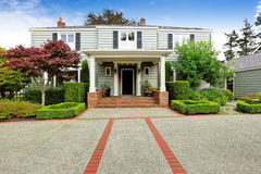 Luxury real estate in Tacoma, WA. Entrance porch with brick trim Royalty Free Stock Photography