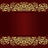 Luxury red Background with golden royal Borders. Royalty Free Stock Photos