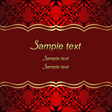 Luxury red Background with ornate Borders for invite Design. Stock Photos