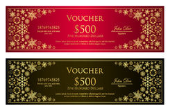 Luxury red and black Christmas voucher with golden Stock Image