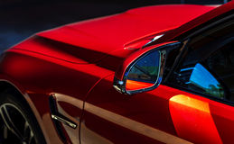 Luxury red car view. Luxury red car details view, elegant and beautiful royalty free stock images