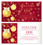 Luxury red Christmas voucher with golden Christmas stock illustration