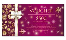 Luxury red Christmas voucher with golden snowflake vector illustration
