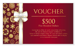 Luxury red Christmas voucher with golden snowflake Stock Images