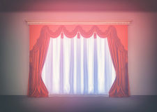 Luxury red curtain. In empty room Stock Photo