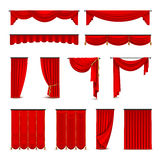 Luxury Red Curtains Draperies Realistic Set Stock Photos