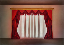 Luxury red curtains in empty room. Luxury red curtains and window in empty room Royalty Free Stock Image