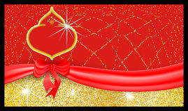Luxury red festive gift voucher with textured sparkling background tied with a ribbon with a bow. Royalty Free Stock Photo