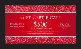 Luxury red gift certificate with borders composed Stock Image