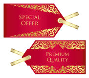 Luxury red and golden price tag with vintage patte Royalty Free Stock Photos