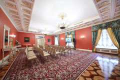 Luxury Red Hall in Guest extension for meeting with newspersons Royalty Free Stock Photo