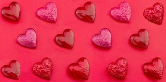 Luxury red hearts on paper background. Happy Valentines day. Pop art style. Stock Photos