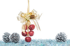 Luxury red jingle Bells and Pine Cone with Snow Royalty Free Stock Photo