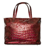 Luxury red leather female bag isolated on white Royalty Free Stock Photos