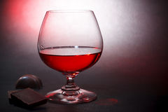 Luxury Red Liqueur And Milk Chocolate Royalty Free Stock Photo