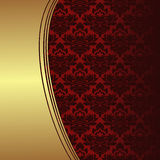 Luxury red ornamental Background with golden Border Stock Images