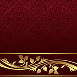 Luxury red ornamental Background with golden floral Border. Royalty Free Stock Photos