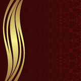Luxury red ornamental Background with golden wave Border Stock Photo